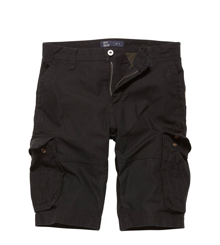 Vintage Industries Rowing Cargo Shorts-Black